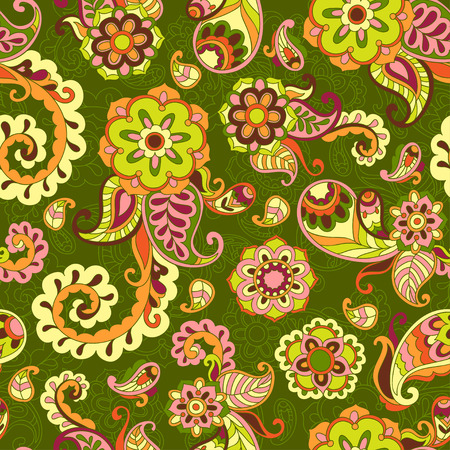 Turkish cucumber psychedelic seamless ornate pattern, green and yellow style Illusztráció