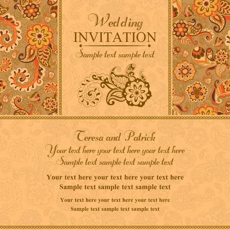 Wedding invitation in pastel east turkish style, orange