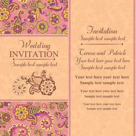 Wedding invitation in pastel east turkish style, pink and orange
