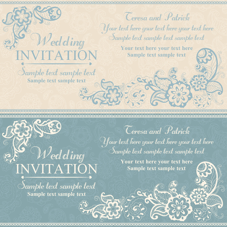 Wedding invitation in pastel east turkish style, blue Illusztráció