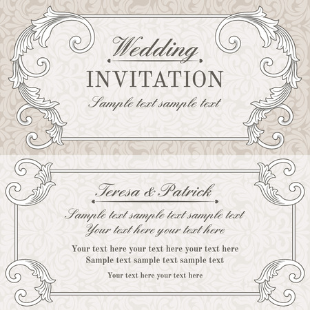 oldfashioned: Baroque wedding invitation card in old-fashioned style, grey and beige