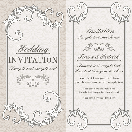 certificate border: Baroque wedding invitation card in old-fashioned style, grey and beige