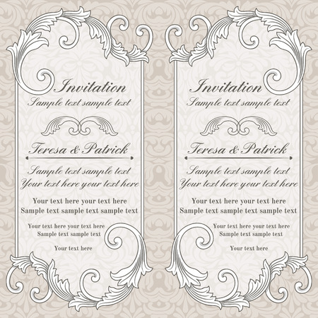 Baroque wedding invitation card in old-fashioned style, grey and beige
