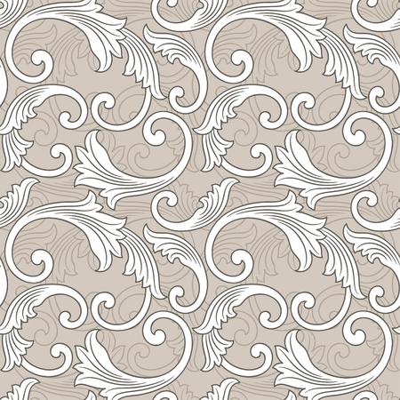 Antique baroque vintage floral seamless pattern or background, grey  and beige Illusztráció