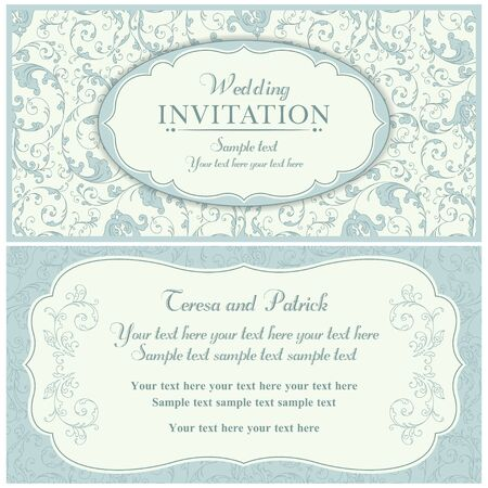 baroque border: Antique baroque wedding invitation card in old-fashioned style, blue and beige Illustration