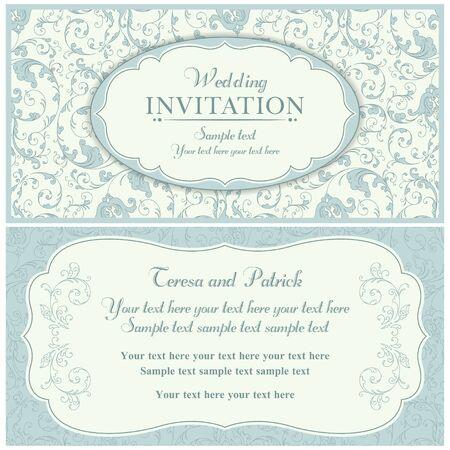 Antique baroque wedding invitation card in old-fashioned style, blue and beige Illusztráció