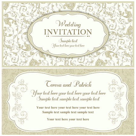 Antique baroque wedding invitation card in old-fashioned style, beige