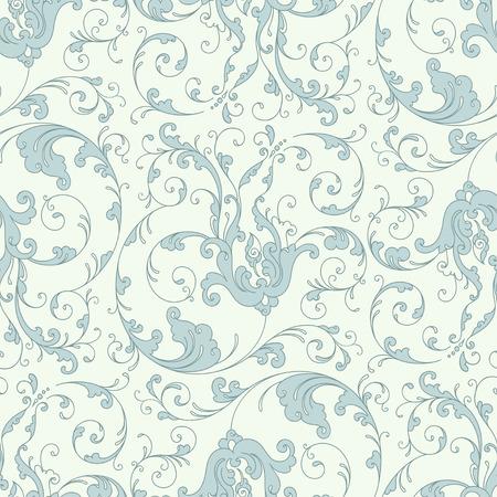 Antique baroque vintage floral seamless pattern or background, blue