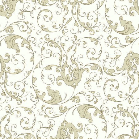 골동품 바로크 빈티지 꽃 원활한 패턴 또는 배경, 베이지 색 일러스트