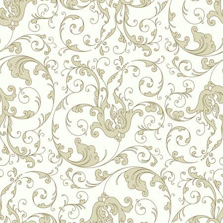 Antique baroque vintage floral seamless pattern or background, beige