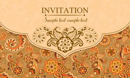indian pattern: Invitation in pastel east turkish style, orange