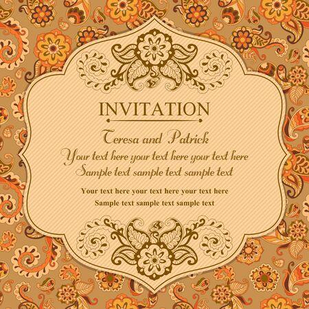 east: Invitation in pastel east turkish style, orange