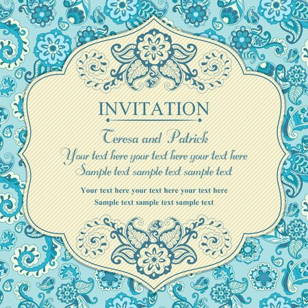 Invitation in pastel east turkish style, blue Illusztráció