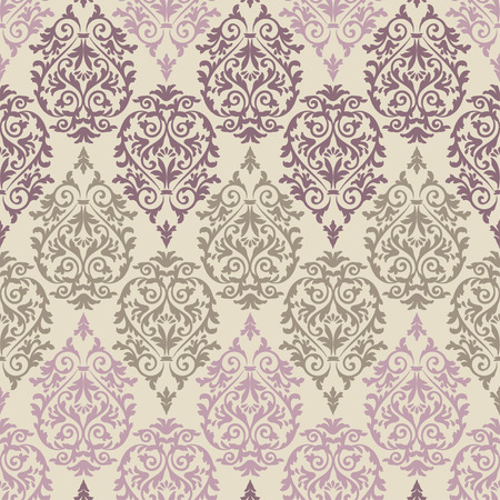 Purple, brown and pink antique baroque vintage seamless pattern on beige background