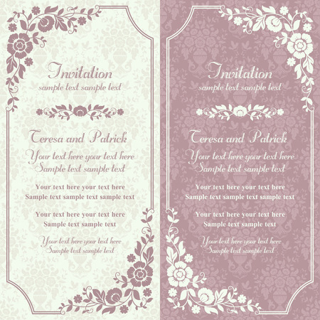 floral decoration: Antique baroque invitation card in old-fashioned style, pink and beige