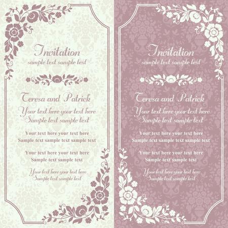 Antique tarjeta de invitación barroca en anticuada estilo, rosa y beige
