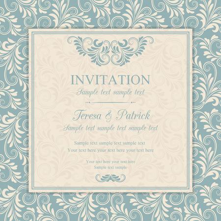 Antique baroque invitation, blue on beige background Stock fotó - 40920880