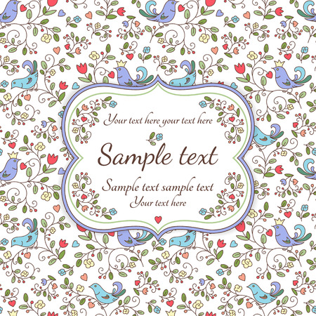 Nature seamless pattern or background with flowers, birds and sample text, white