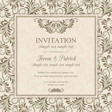 Antique baroque invitation, brown on beige background