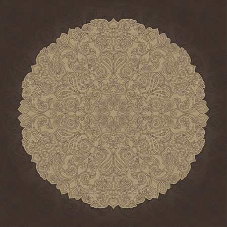 Ornament card with mandala. Geometric circle element made in vector. Card for any other kind of design, birthday, other holiday, kaleidoscope, medallion, yoga, india, folk, arabic. Brown and beige