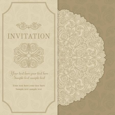 Retro invitation or wedding card with flowers in a folk style, beige