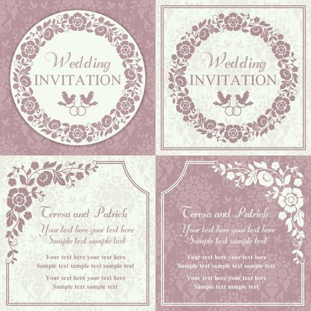 Antique baroque wedding invitation set, ornate round wreath frame, couple of birds with ring, pink and beige