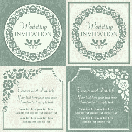 Antique baroque wedding invitation set, ornate round wreath frame, couple of birds with ring, blue and beige