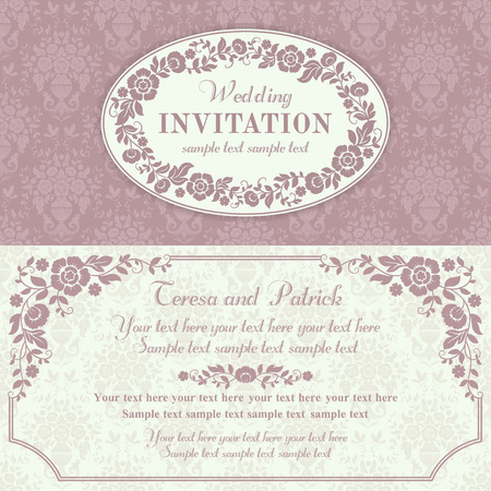 Antique baroque wedding invitation with flowers, pink and beige