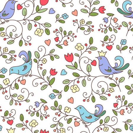 Nature seamless pattern or background with flowers and birds, white