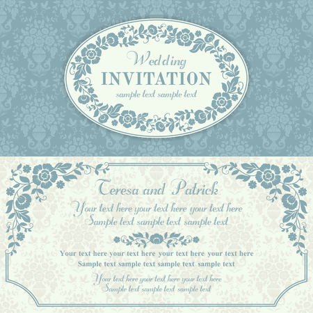 Antique baroque wedding invitation with flowers, blue and beige
