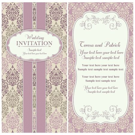 renaissance: Antique baroque wedding invitation card in old-fashioned style, pink and beige