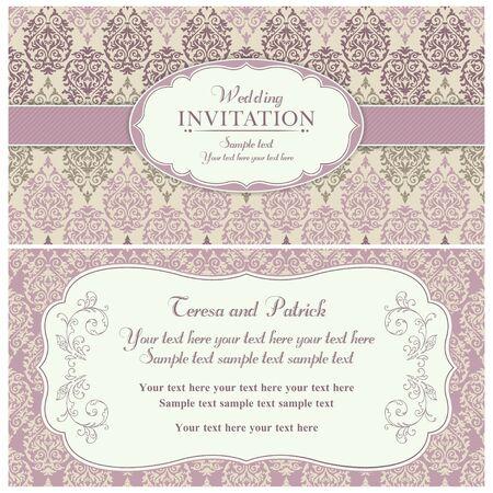 昔ながらのスタイル、ピンクとベージュ色でアンティークのバロック様式の結婚式招待状