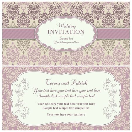 구식 스타일, 핑크와 베이지 색 골동품 바로크 결혼식 초대 카드 일러스트