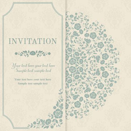 Retro invitation or wedding card with flowers in a folk style, blue and beige