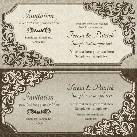 Baroque invitation card in old-fashioned style, brown and beige