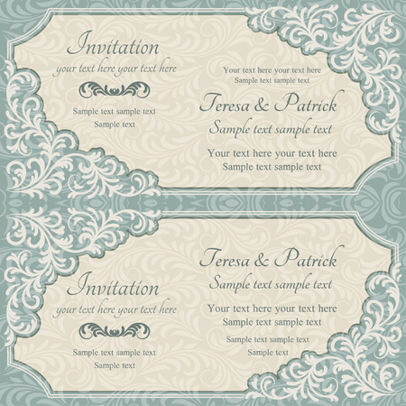 blue card: Baroque invitation card in old-fashioned style, blue and beige