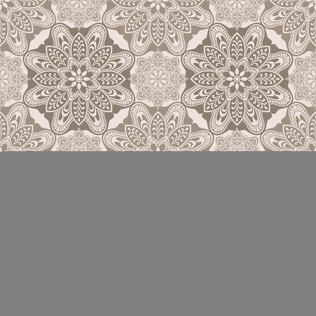 Mandala element vintage seamless pattern, brown and  beige