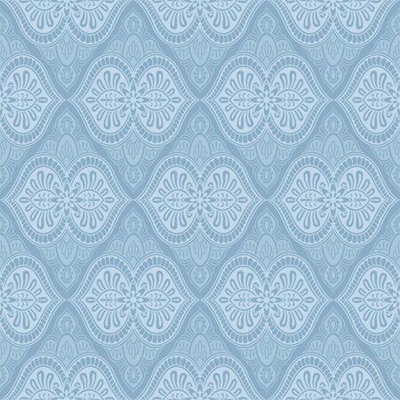 Blue, silver, gray baroque vintage seamless striped pattern Illusztráció