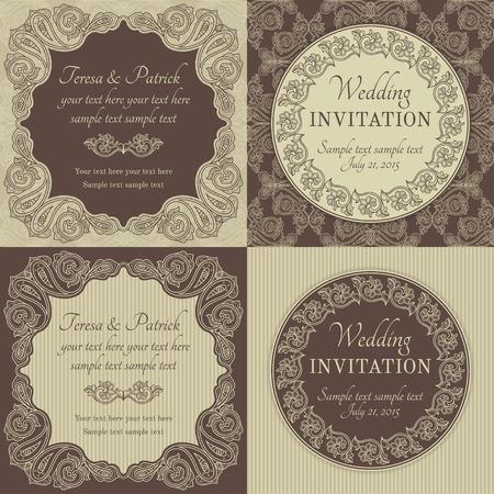 Antique baroque wedding invitation set, ornate round wreath frame, brown and beige