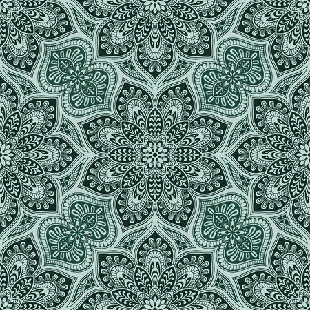 Mandala element vintage seamless pattern, black and green