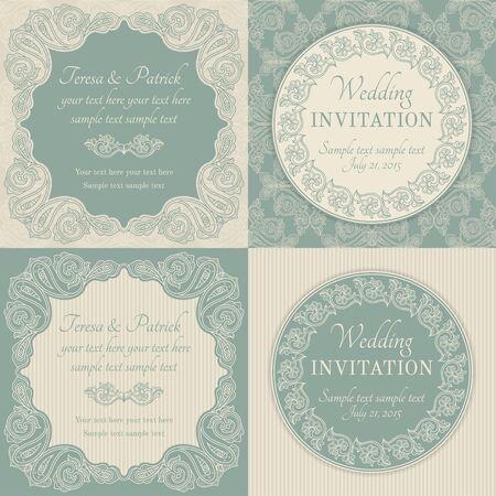 Antique baroque wedding invitation set, ornate round wreath frame, blue and beige Illusztráció