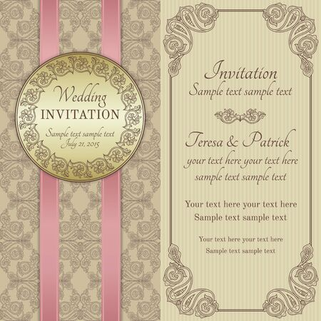 Antique baroque wedding invitation with pink ribbon, ornate round frame, gold, brown and beige
