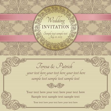 gold brown: Antique baroque wedding invitation with pink ribbon, ornate round frame, gold, brown and beige
