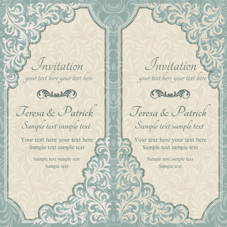 renaissance: Baroque invitation card in old-fashioned style, blue and beige