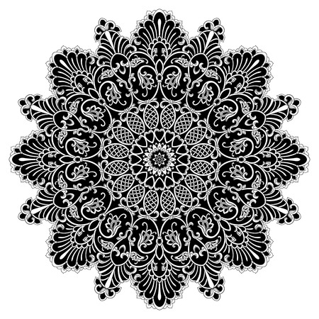 Ornament card with mandala. Geometric circle element made in vector. Card for any other kind of design, birthday, other holiday, kaleidoscope, medallion, yoga, india, folk, arabic. Black