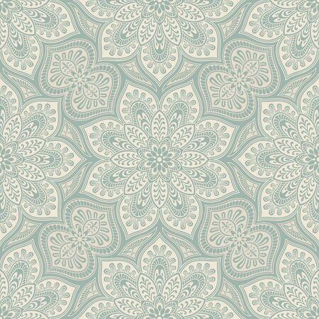 Élément Mandala millésime seamless, bleu et beige Vecteurs