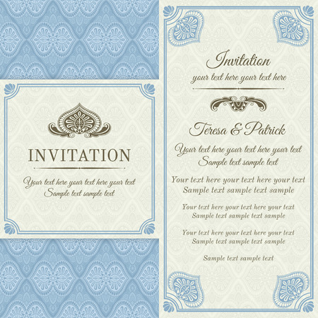 Antique baroque invitation, blue and gold on beige background