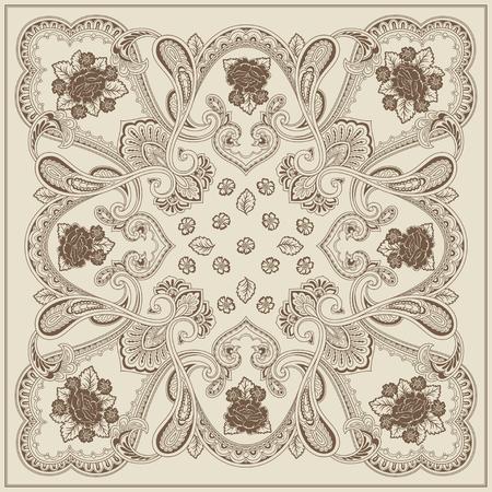 quadratic: Carta Ornamento con mandala. Elemento quadratica geometrica con fiori realizzati in vettoriale. Card per ogni tipo di disegno, compleanno, festa, caleidoscopio, yoga, India, folk, arabo. Brown e beige Vettoriali