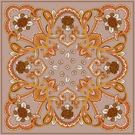 Ornament card with mandala. Geometric quadratic element with flowers made in vector. Card for any kind of design, birthday, holiday, kaleidoscope, yoga, india, folk, arabic. Brown and beige Illustration
