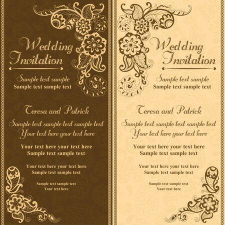 Wedding invitation in pastel east turkish style, brown and orange